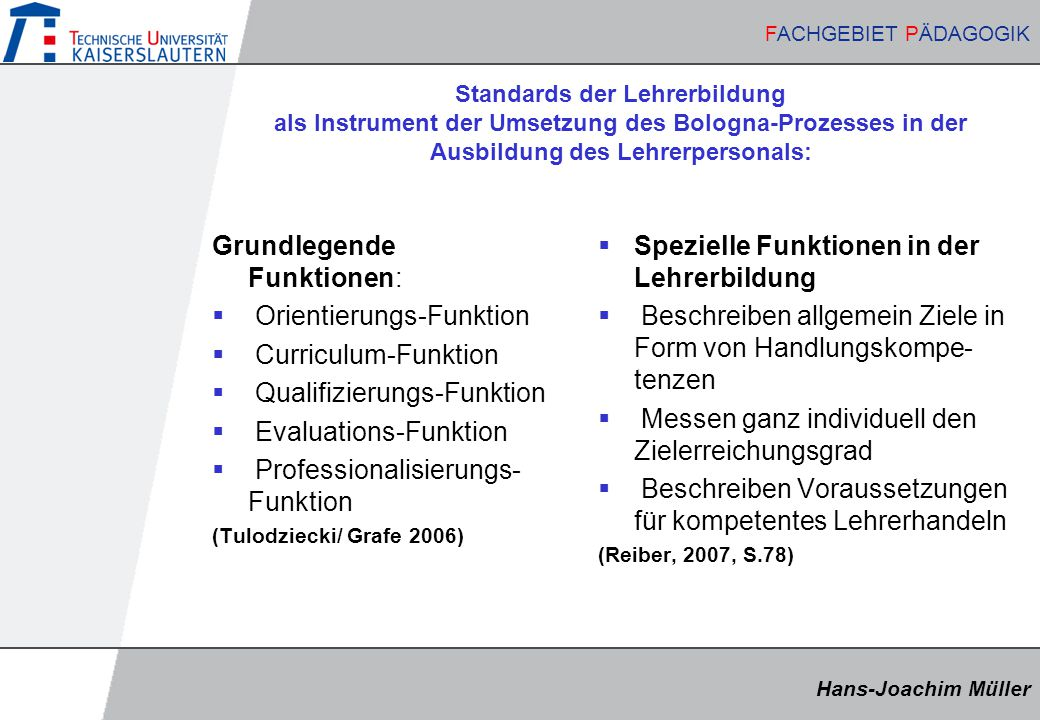 Grundlegende Funktionen: Orientierungs-Funktion Curriculum-Funktion