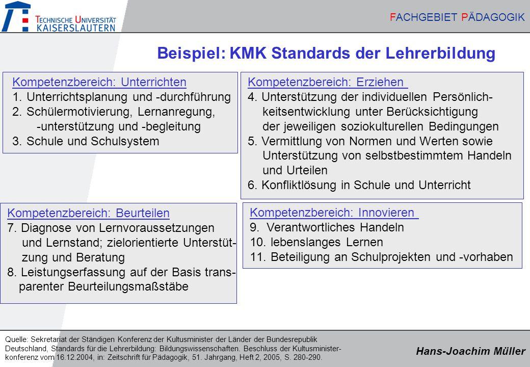 Beispiel: KMK Standards der Lehrerbildung
