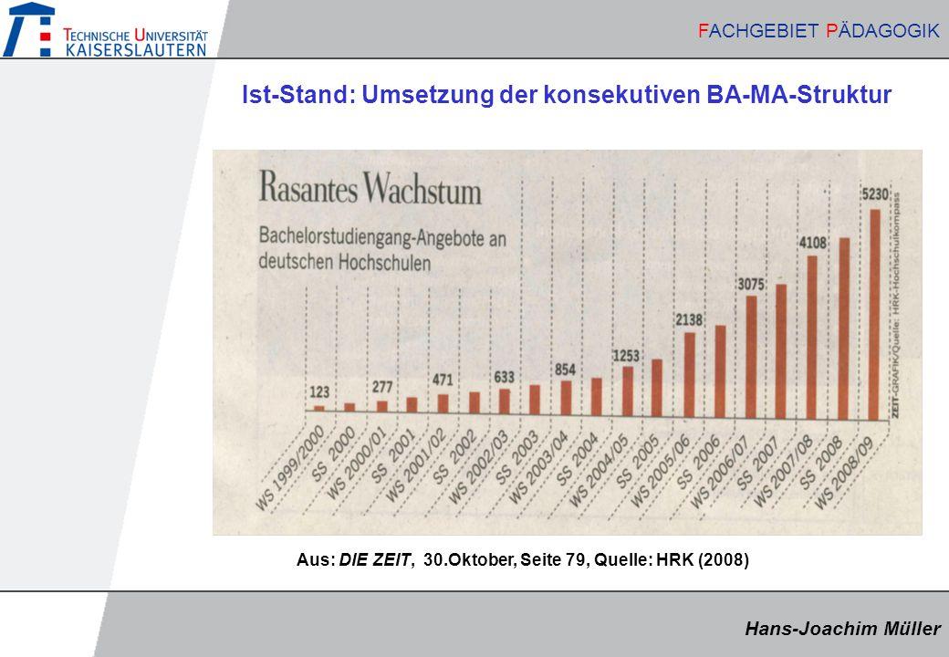 Ist-Stand: Umsetzung der konsekutiven BA-MA-Struktur