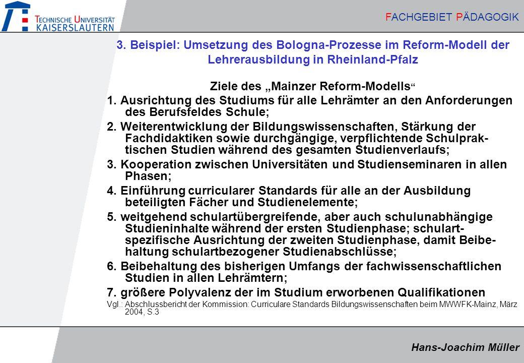 """Ziele des """"Mainzer Reform-Modells"""