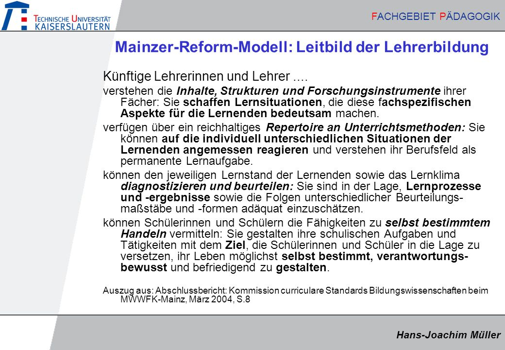 Mainzer-Reform-Modell: Leitbild der Lehrerbildung