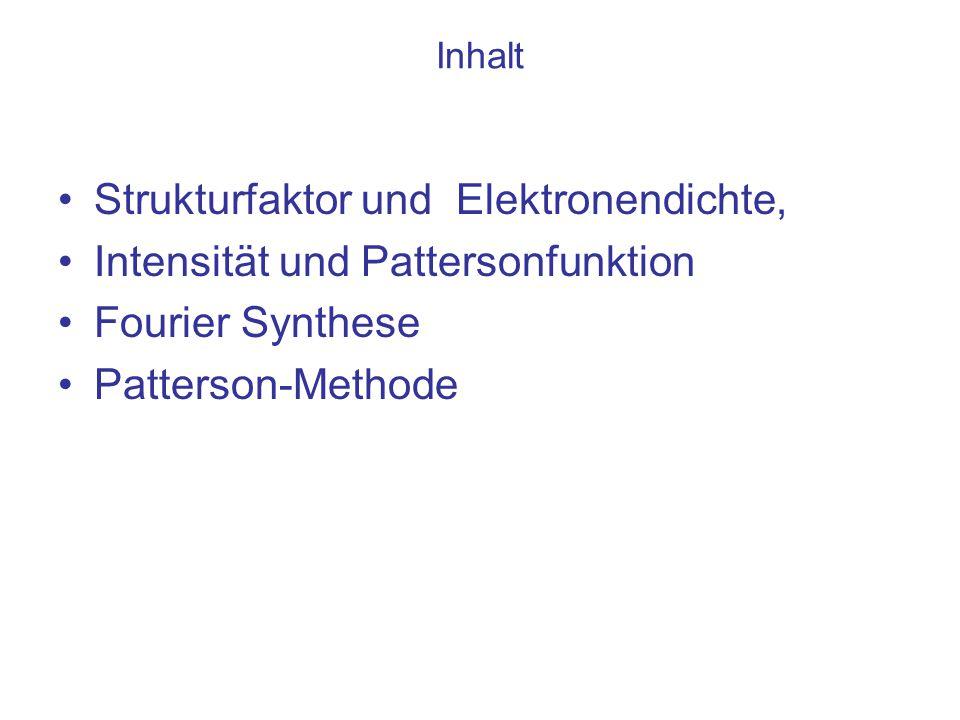 Strukturfaktor und Elektronendichte, Intensität und Pattersonfunktion