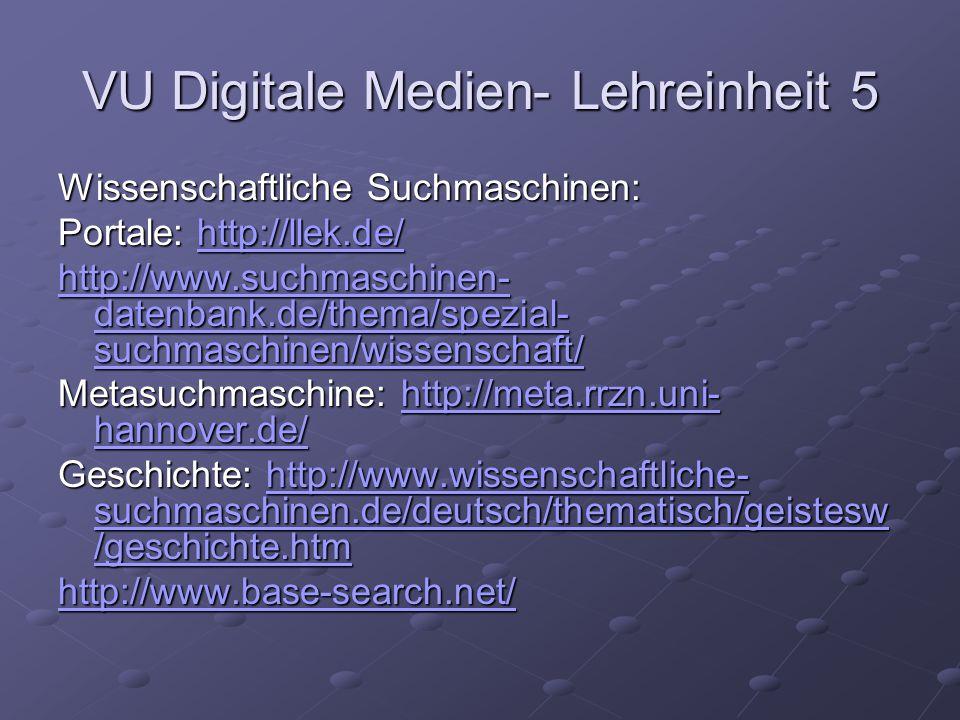 VU Digitale Medien- Lehreinheit 5