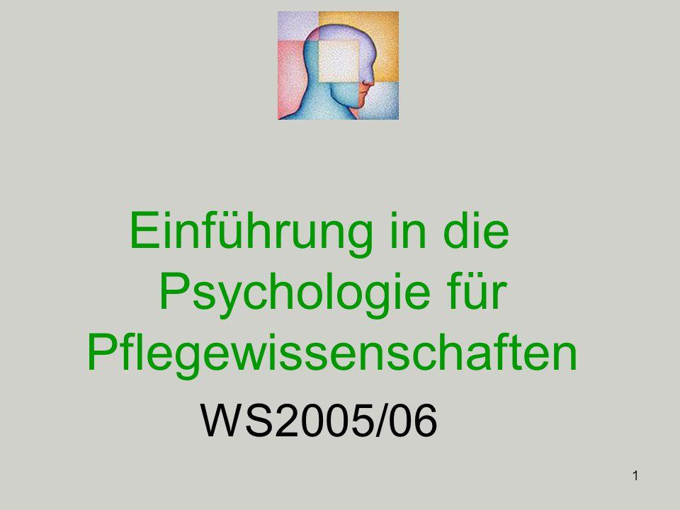 Einführung in die Psychologie für Pflegewissenschaften