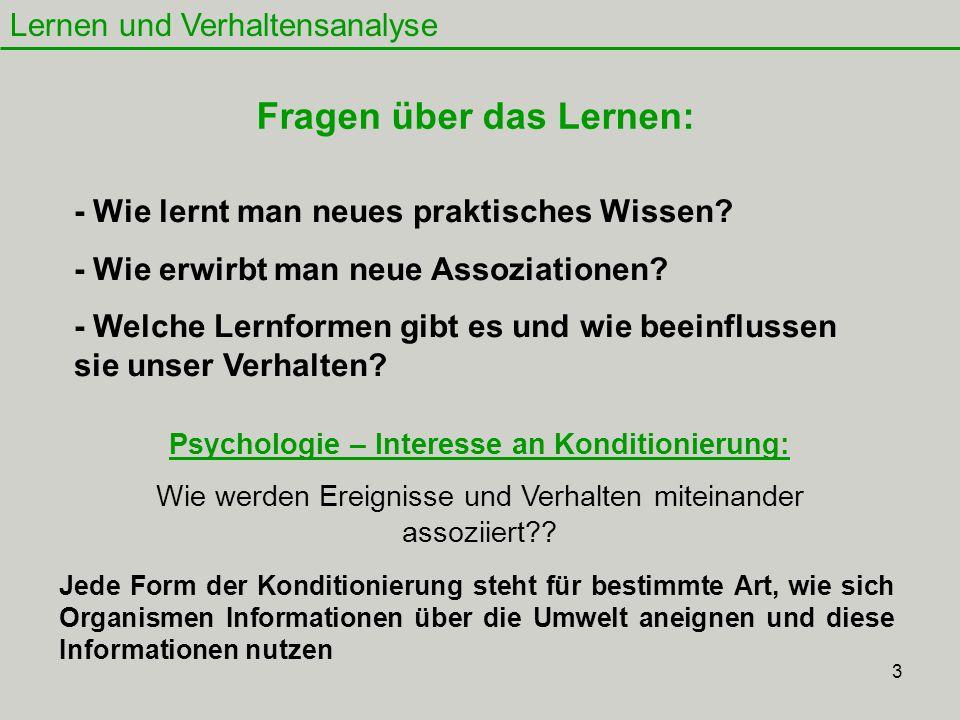 Fragen über das Lernen: Psychologie – Interesse an Konditionierung: