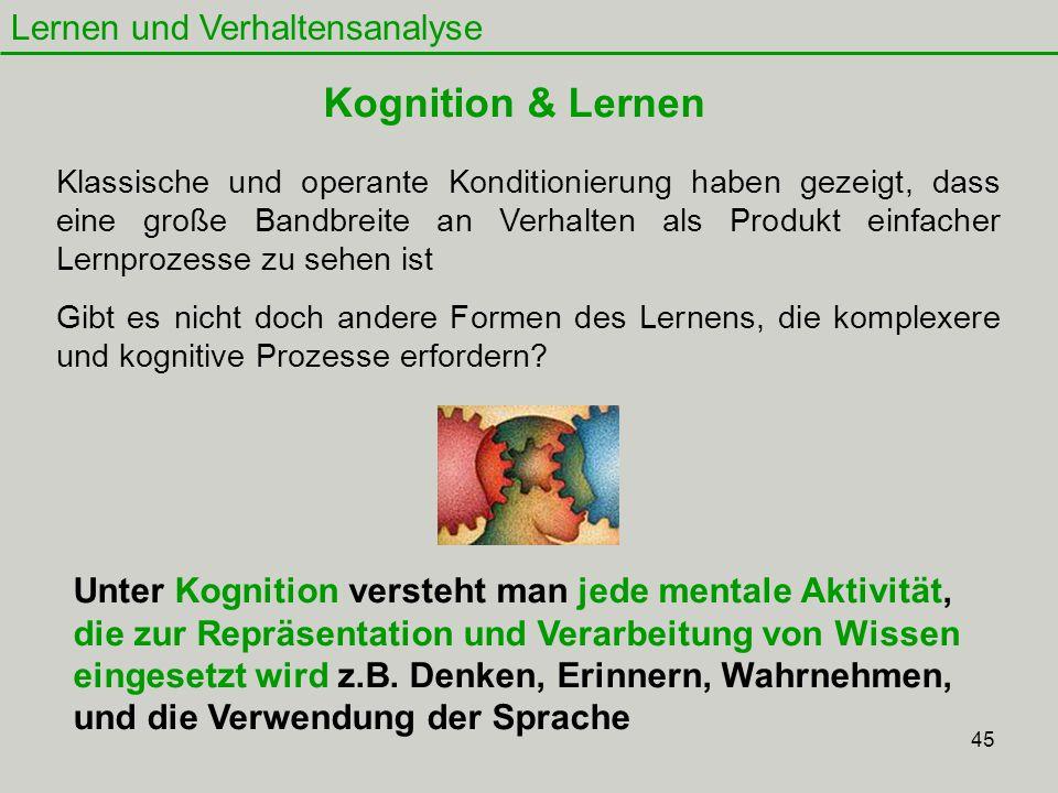 Kognition & Lernen Lernen und Verhaltensanalyse