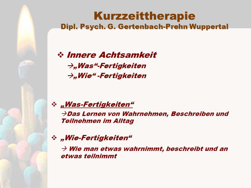 Kurzzeittherapie Dipl. Psych. G. Gertenbach-Prehn Wuppertal