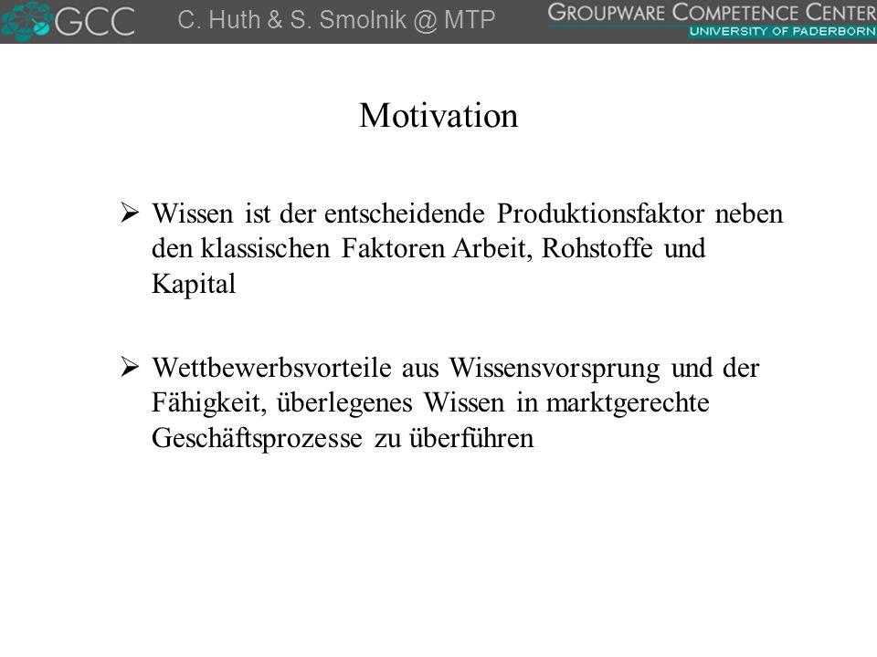 C. Huth & S. Smolnik @ MTP Motivation. Wissen ist der entscheidende Produktionsfaktor neben den klassischen Faktoren Arbeit, Rohstoffe und Kapital.