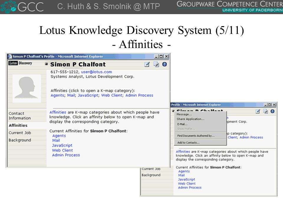 Lotus Knowledge Discovery System (5/11) - Affinities -