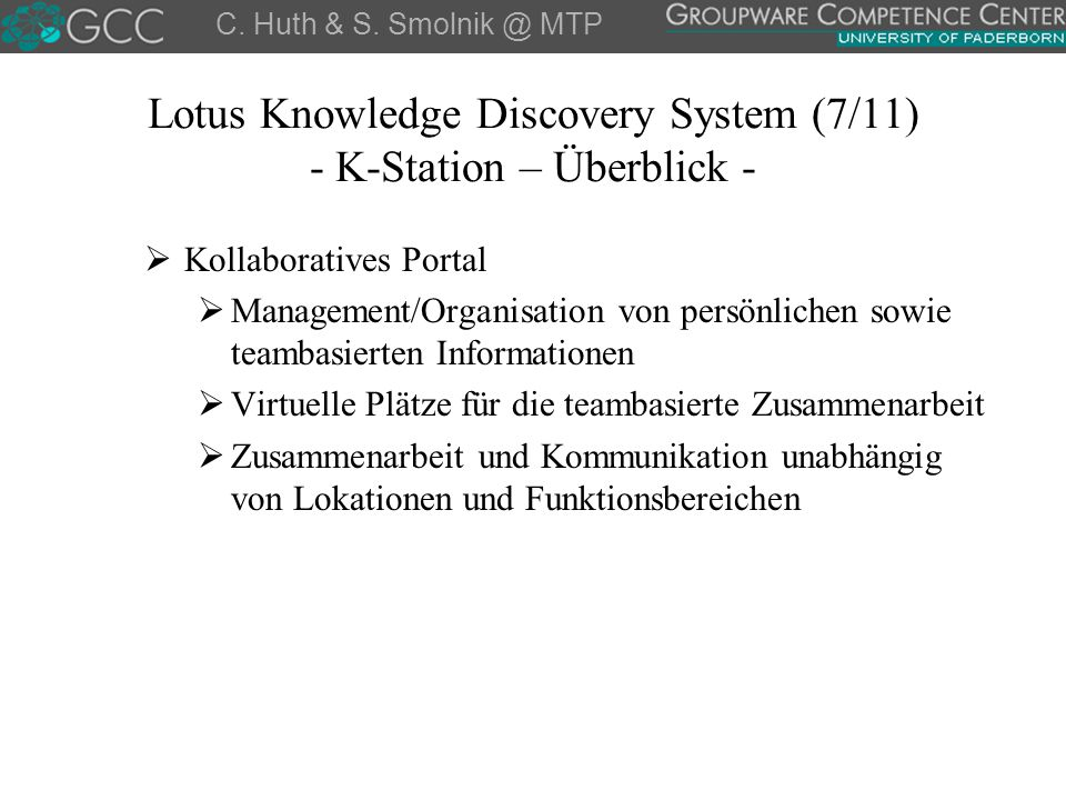 Lotus Knowledge Discovery System (7/11) - K-Station – Überblick -