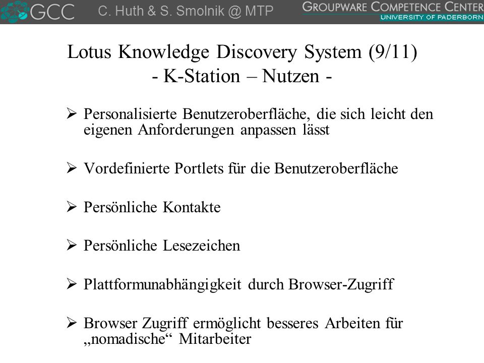 Lotus Knowledge Discovery System (9/11) - K-Station – Nutzen -