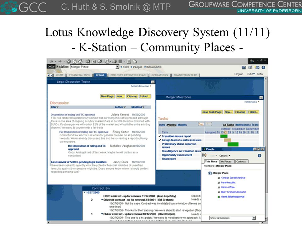 C. Huth & S. Smolnik @ MTP Lotus Knowledge Discovery System (11/11) - K-Station – Community Places -