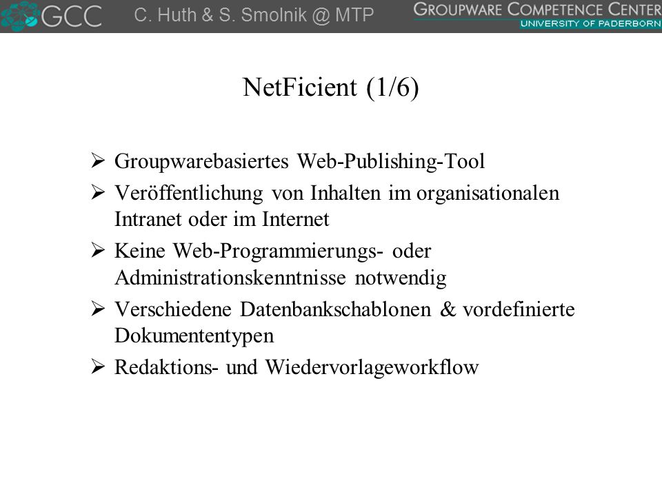 NetFicient (1/6) Groupwarebasiertes Web-Publishing-Tool