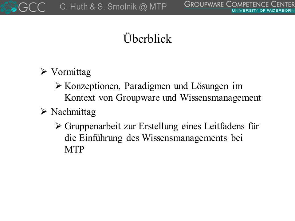 C. Huth & S. Smolnik @ MTP Überblick. Vormittag. Konzeptionen, Paradigmen und Lösungen im Kontext von Groupware und Wissensmanagement.