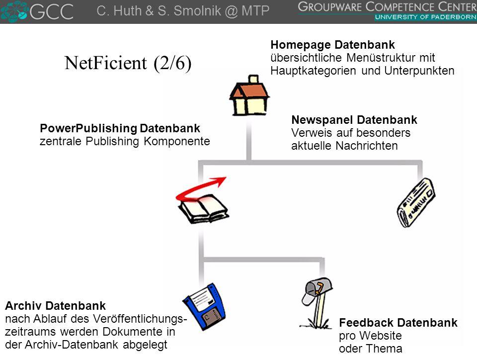NetFicient (2/6) C. Huth & S. Smolnik @ MTP Homepage Datenbank