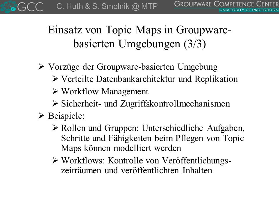 Einsatz von Topic Maps in Groupware-basierten Umgebungen (3/3)