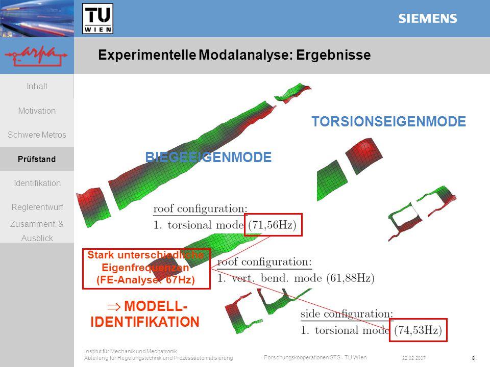 Experimentelle Modalanalyse: Ergebnisse