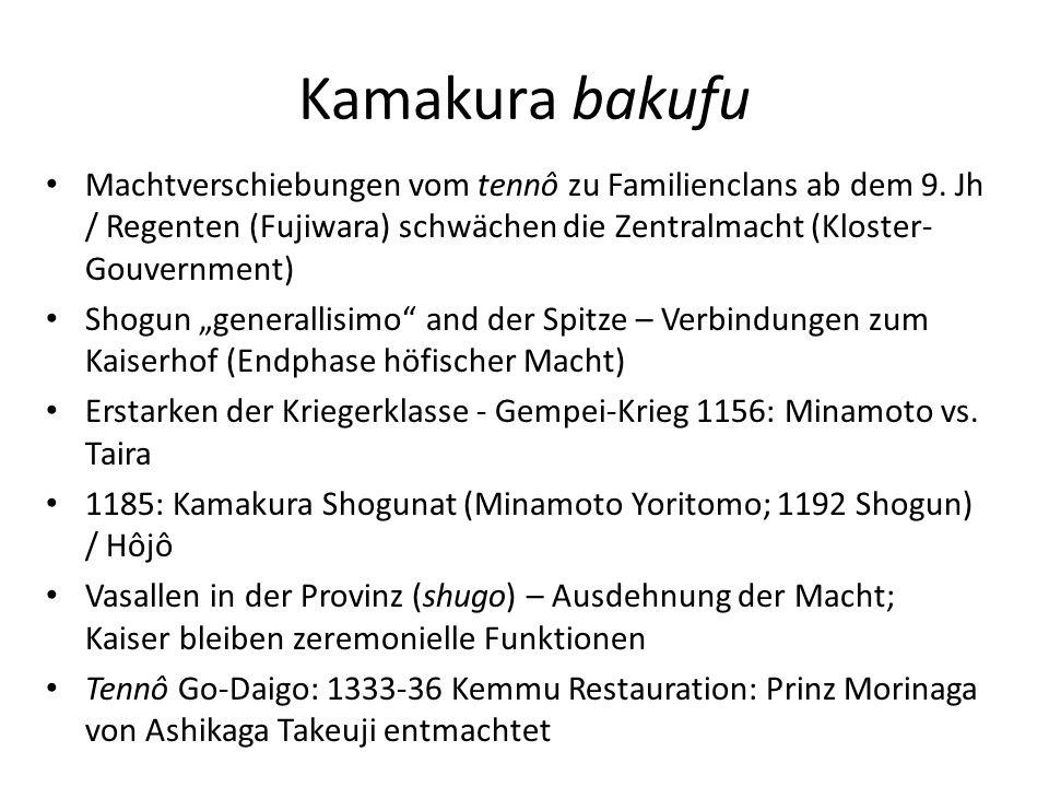 Kamakura bakufu Machtverschiebungen vom tennô zu Familienclans ab dem 9. Jh / Regenten (Fujiwara) schwächen die Zentralmacht (Kloster-Gouvernment)