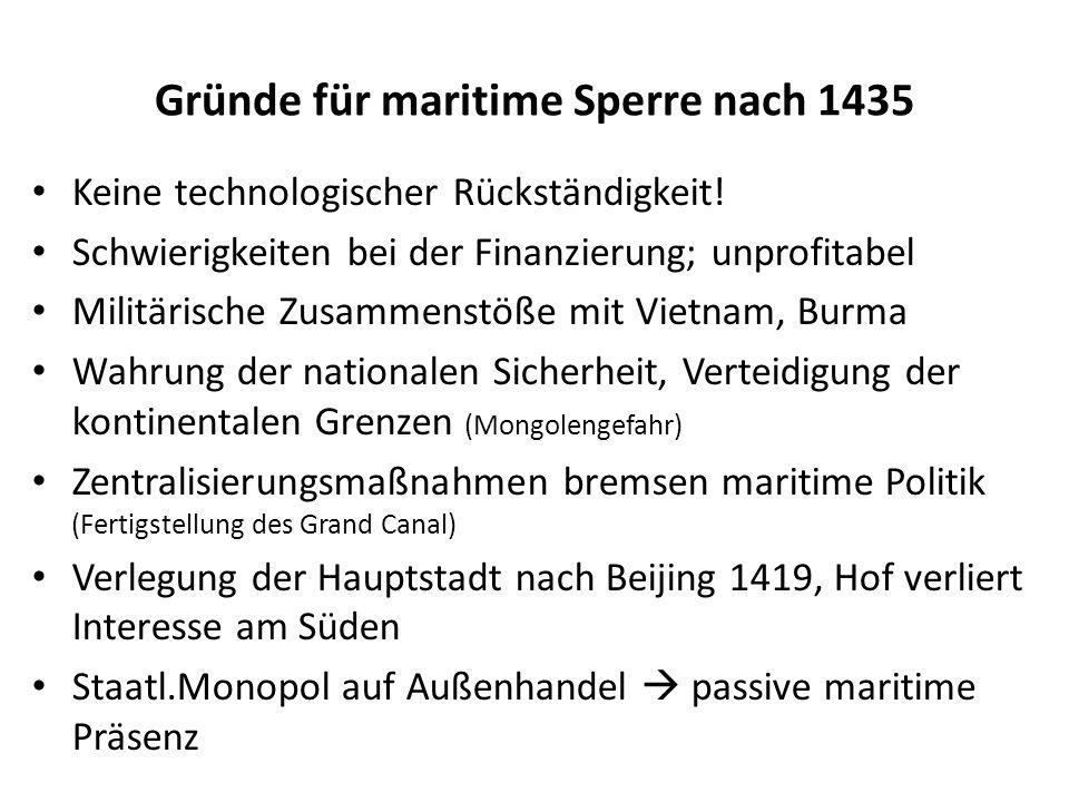 Gründe für maritime Sperre nach 1435