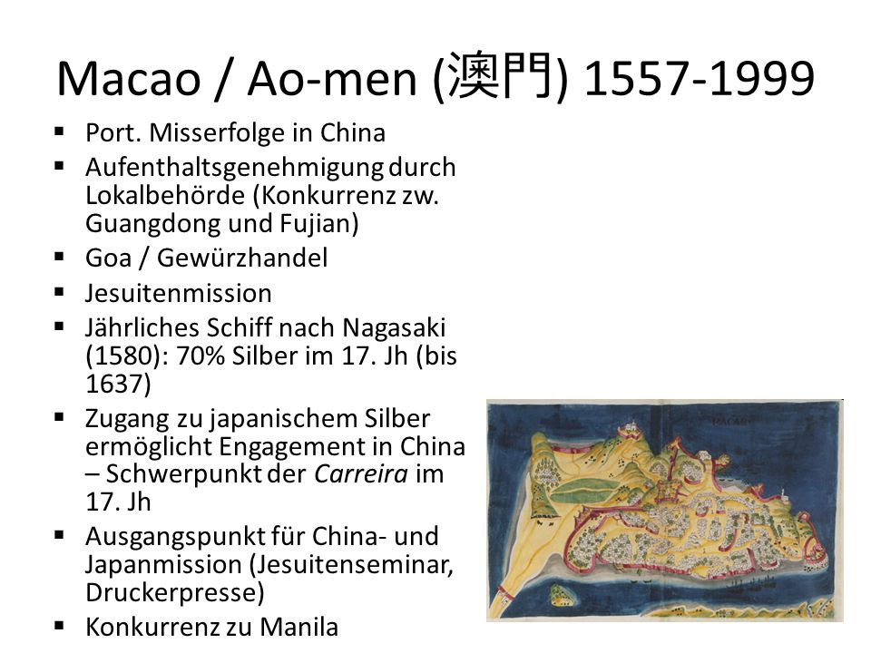 Macao / Ao-men (澳門) Port. Misserfolge in China