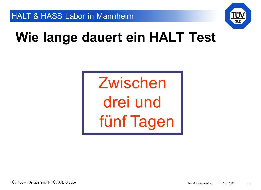 Wie lange dauert ein HALT Test