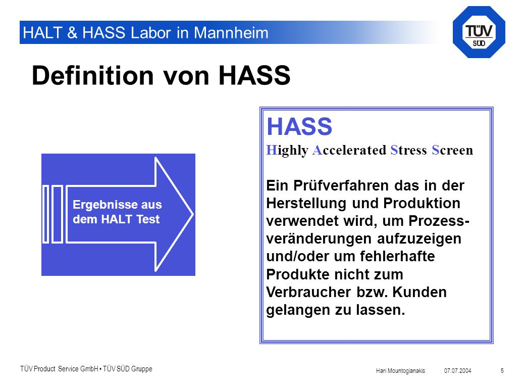Definition von HASS HASS Highly Accelerated Stress Screen