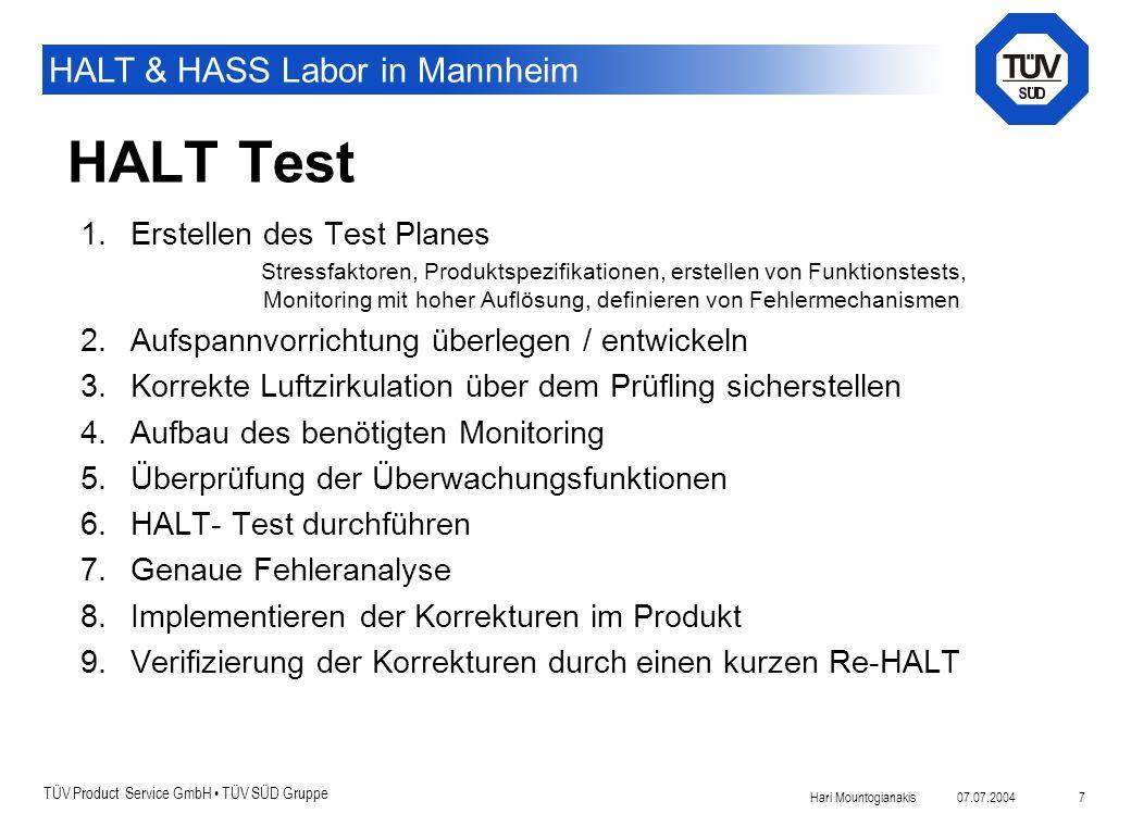 HALT Test Erstellen des Test Planes
