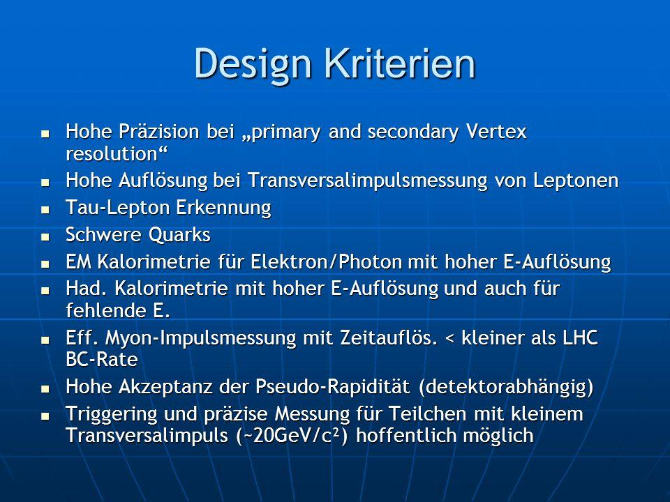 """Design Kriterien Hohe Präzision bei """"primary and secondary Vertex resolution Hohe Auflösung bei Transversalimpulsmessung von Leptonen."""