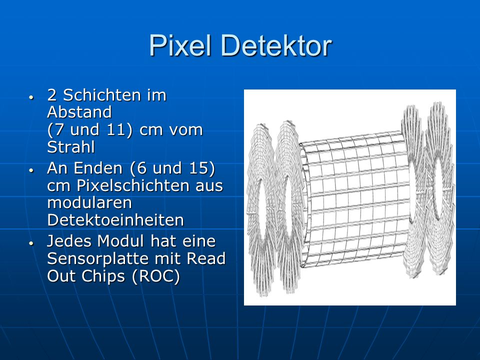 Pixel Detektor 2 Schichten im Abstand (7 und 11) cm vom Strahl