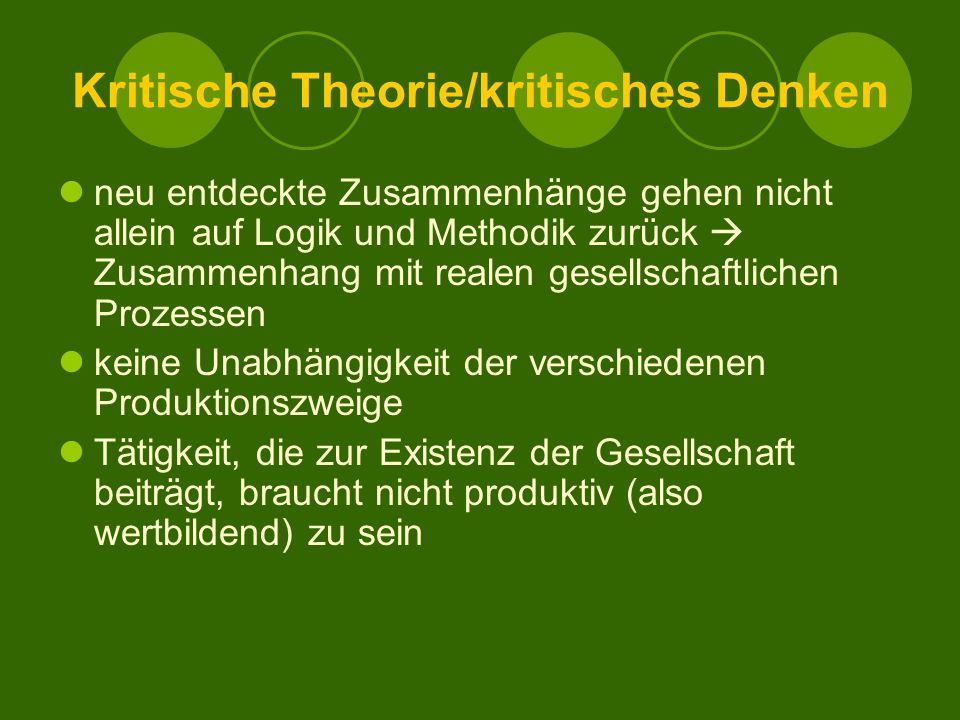 Kritische Theorie/kritisches Denken