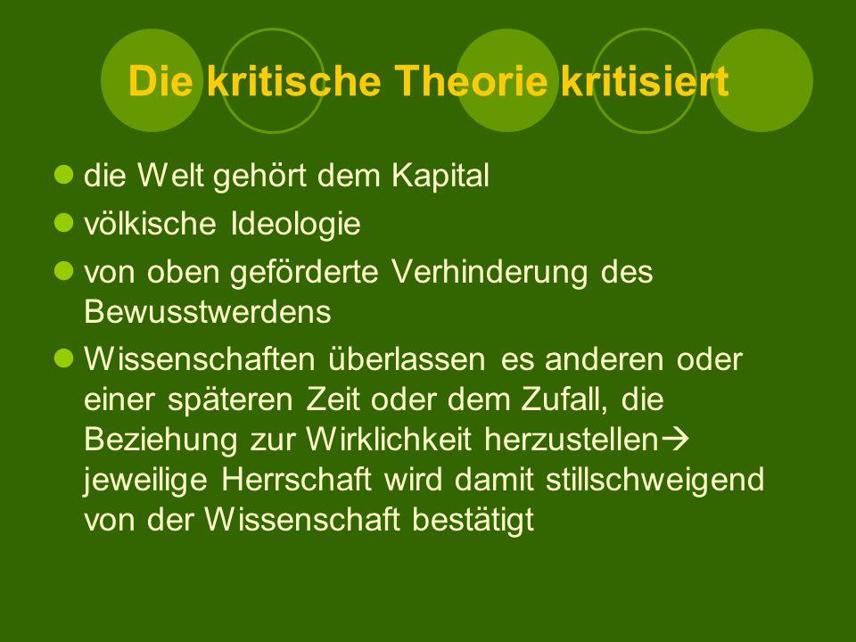 Die kritische Theorie kritisiert