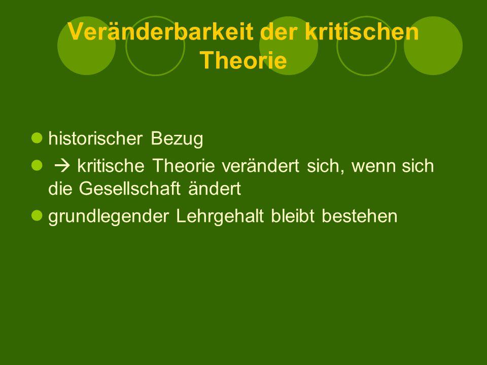 Veränderbarkeit der kritischen Theorie