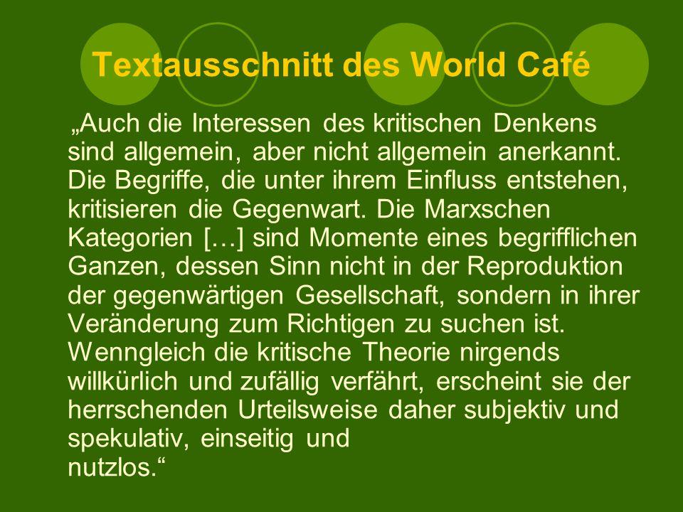 Textausschnitt des World Café