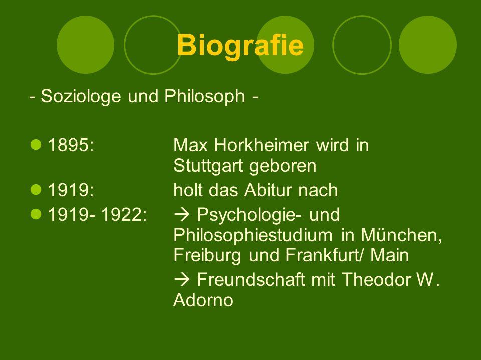 Biografie - Soziologe und Philosoph -