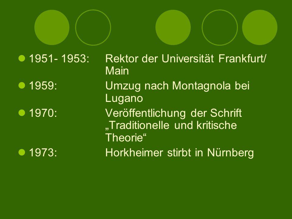 1951- 1953: Rektor der Universität Frankfurt/ Main