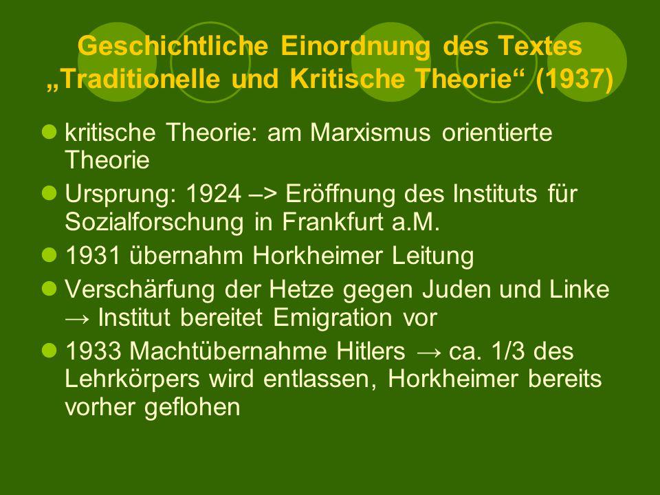 """Geschichtliche Einordnung des Textes """"Traditionelle und Kritische Theorie (1937)"""
