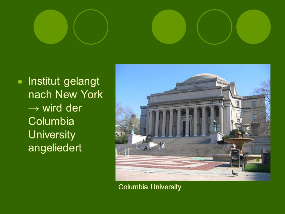 Institut gelangt nach New York → wird der Columbia University angeliedert