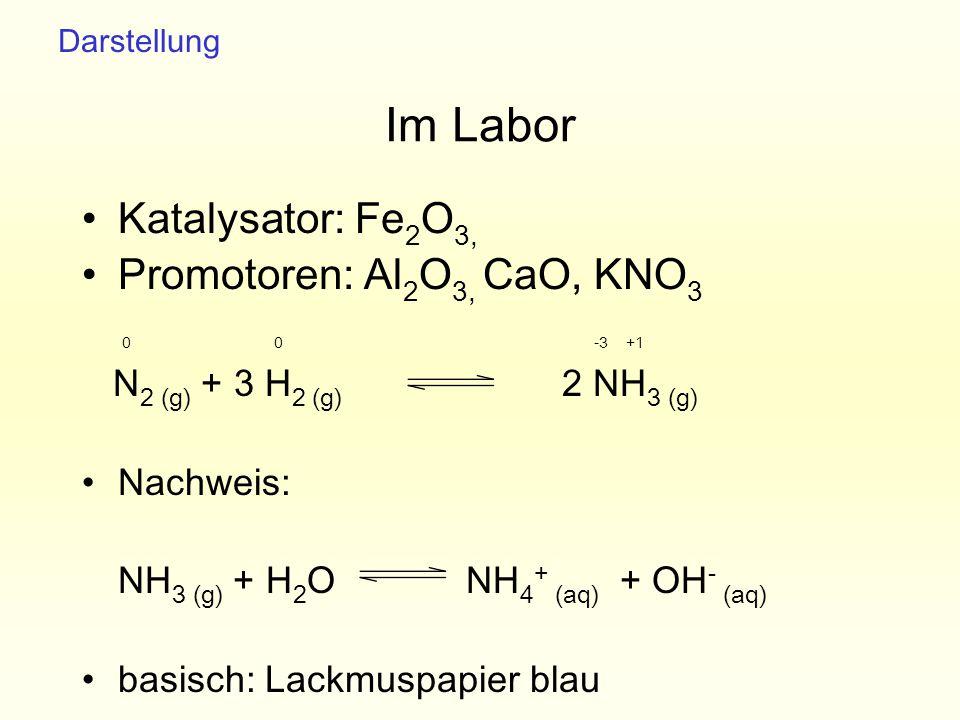 Im Labor Katalysator: Fe2O3, Promotoren: Al2O3, CaO, KNO3