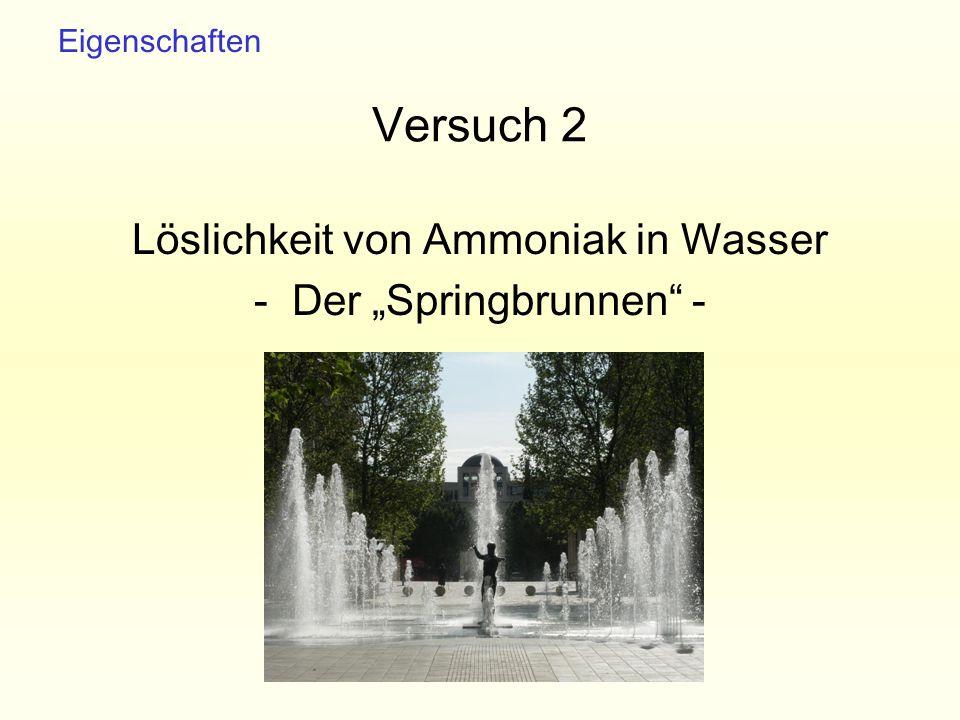 """Versuch 2 Löslichkeit von Ammoniak in Wasser - Der """"Springbrunnen -"""