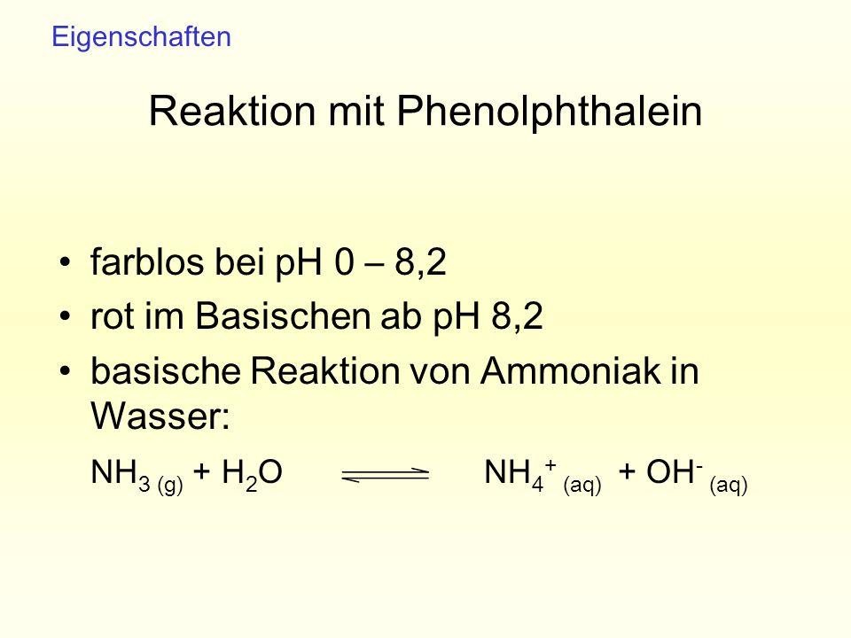Reaktion mit Phenolphthalein