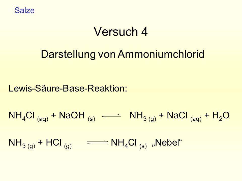 Versuch 4 Darstellung von Ammoniumchlorid Lewis-Säure-Base-Reaktion: