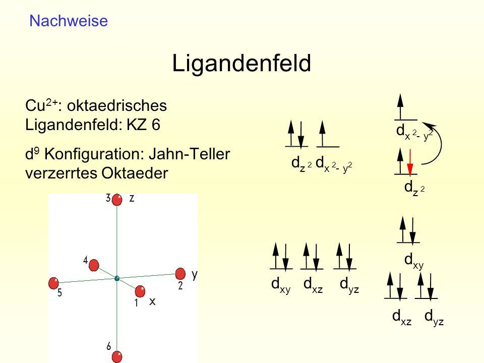 Ligandenfeld Nachweise Cu2+: oktaedrisches Ligandenfeld: KZ 6