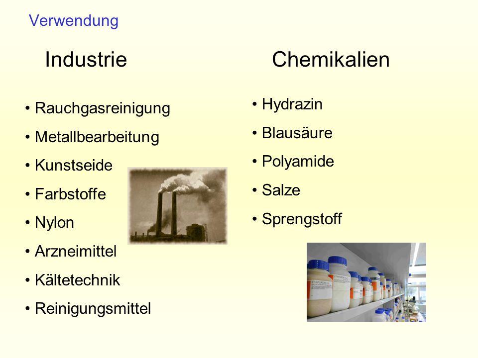 Industrie Chemikalien Verwendung Hydrazin Rauchgasreinigung Blausäure