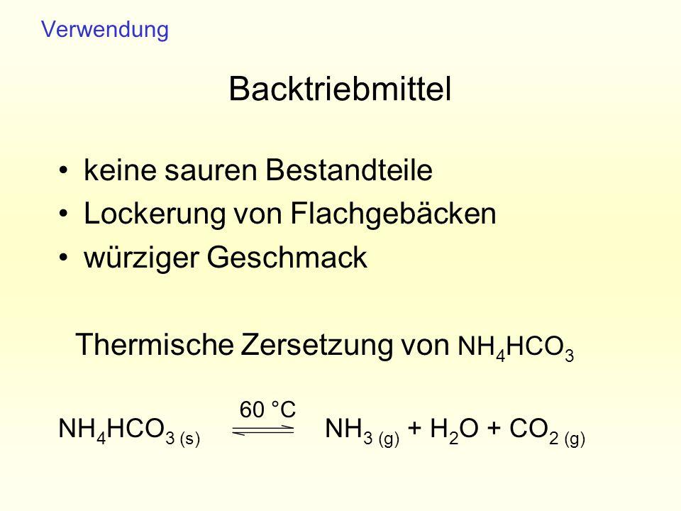Backtriebmittel keine sauren Bestandteile Lockerung von Flachgebäcken