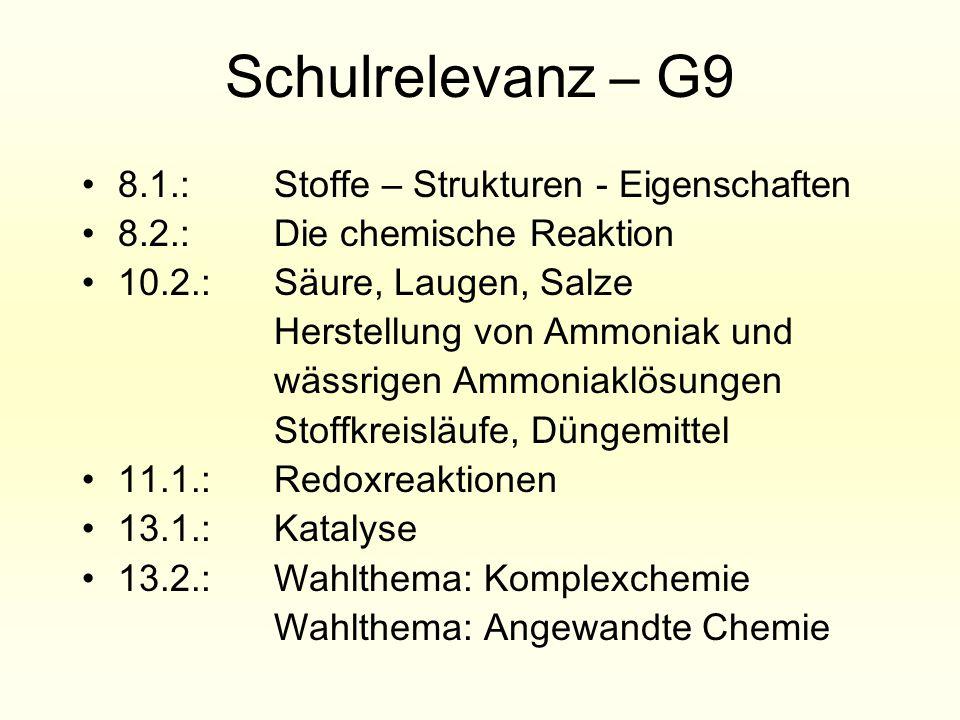 Schulrelevanz – G9 8.1.: Stoffe – Strukturen - Eigenschaften