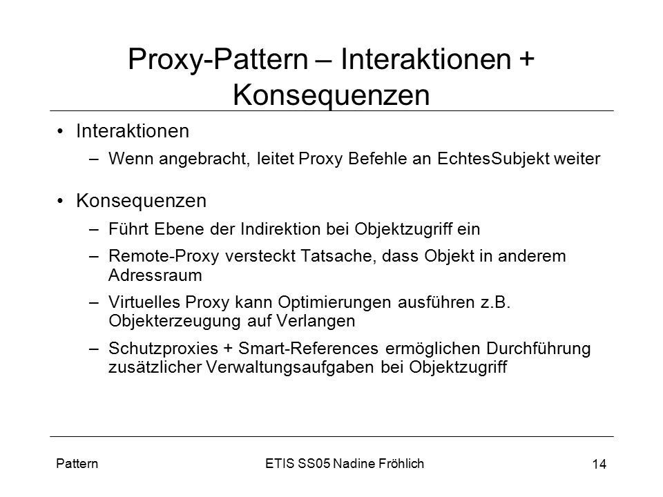 Proxy-Pattern – Interaktionen + Konsequenzen