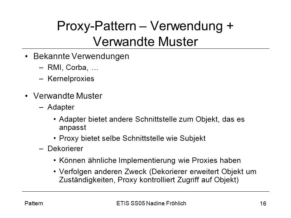 Proxy-Pattern – Verwendung + Verwandte Muster