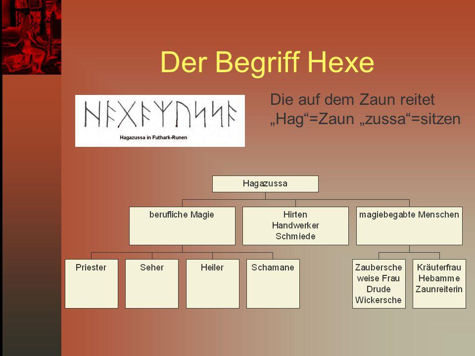 """Der Begriff Hexe Die auf dem Zaun reitet """"Hag =Zaun """"zussa =sitzen"""