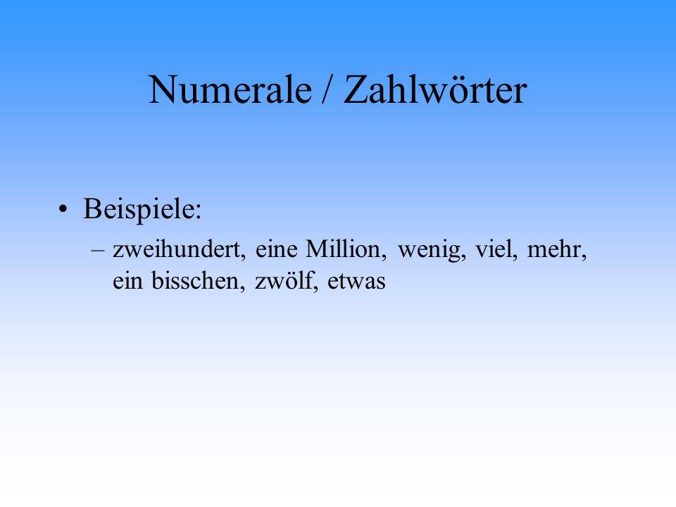 Numerale / Zahlwörter Beispiele: