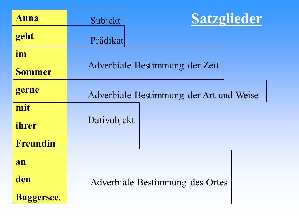 Satzglieder Anna Subjekt geht im Prädikat Sommer gerne mit